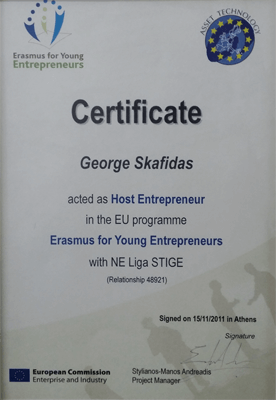 certificate  of host entrepreneur