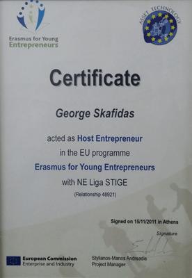 certificate  of host entrepreneur